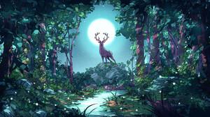 Christian Benavides Digital Art Fantasy Art Deer Moon Night Forest Stream 3840x2160 Wallpaper