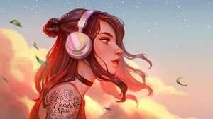 Artwork Women Tattoo Headphones Karmen Loh 1508x868 Wallpaper