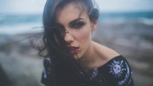 Red Lipstick Depth Of Field Hair Portrait Dark Hair Green Eyes Outdoors Women Outdoors Looking At Vi 2000x1334 Wallpaper