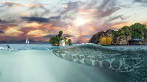 Animal Crocodile Island Ocean Surfer Waterfall 3840x2160 Wallpaper