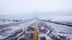 Ice Road Cold Winter Landscape Long Road Outdoors Asphalt 2048x1365 Wallpaper