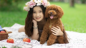 Asian Model Women Women Outdoors Long Hair Dark Hair Depth Of Field Blankets Dog Flower Crown Lying  5760x3840 Wallpaper