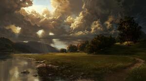Philipp A Ulrich Digital Art Landscape Clouds Trees Road 3840x1920 Wallpaper