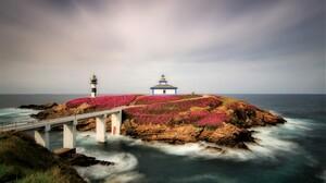 Island Rock Spain Ocean Sea Horizon Bridge 4889x3196 Wallpaper