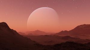 Mountains 3D Render Planet Moon Stars Landscape Science Fiction Space Mars Mist 5000x3000 Wallpaper