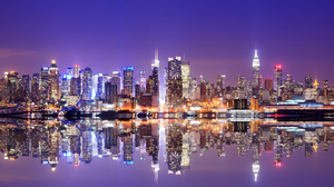 Building City New York Night Reflection Skyscraper Usa 5120x2880 Wallpaper
