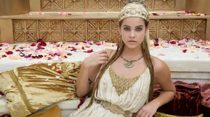 Barbara Palvin Blonde Blue Eyes Headdress Hungarian Model Petal 3000x2000 wallpaper