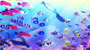 Abzu Diving Fish Underwater 3370x2080 wallpaper