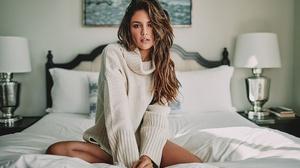 Women Model White Dress Sitting In Bed Women Indoors Eiza Gonzalez Brunette 2200x1320 Wallpaper