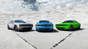 Dodge Dodge Challenger Car Muscle Cars Dodge Challenger R T Silver Cars Clouds Blue Cars Green Cars 2560x1600 wallpaper