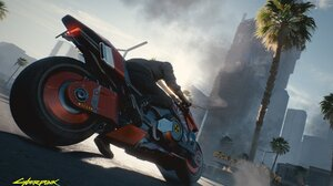 Cyberpunk 2077 Radioactive Motorcycle Motorcyclist NightCity Burnout Clouds Smoke Palm Trees 2560x1600 wallpaper