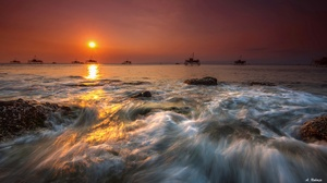 Indonesia Sea Sky Stone Sunset 2048x1193 wallpaper