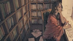 Bookshelf Desk Girl Glasses 2500x1700 wallpaper
