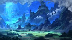 David Frasheski Digital Art Landscape Dragon Clouds Sky Freedom 3840x1988 Wallpaper
