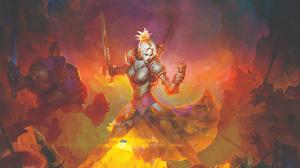 Armor Battle Blonde Girl Sword Woman Warrior 5120x3200 Wallpaper