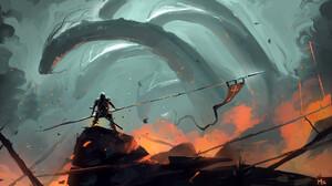 Banner Creature Hydra Knight Warrior 1920x1080 Wallpaper