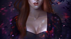 Emma Ronkainen Artwork Women Witch White Eyes Portrait Display Redhead Long Hair Bats Digital Painti 1668x2388 wallpaper