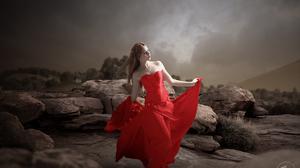 Asian Brunette Girl Model Red Dress Rock Woman 5802x3870 Wallpaper