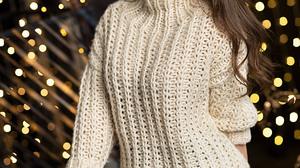 Aleksandr Margolin Women Brunette Long Hair Sweater Makeup White Clothing Jeans Denim Christmas Ligh 1200x1646 Wallpaper