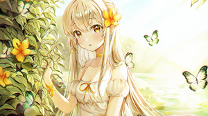 Ssum Anime Anime Girls Long Hair Blonde Yellow Eyes Dress Flowers Butterfly 2000x1404 Wallpaper