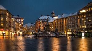 Austria Evening Graz Town Square 5120x2880 Wallpaper