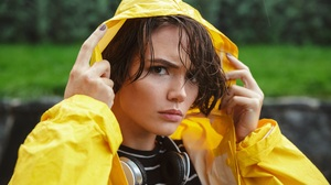 Women Model Wet Hair Portrait Upset Yellow Headphones Rain Hoods Raincoat Looking At Viewer Closeup 5760x3840 Wallpaper