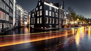 City Night Time Lapse Building House Canal Netherlands 1920x1281 wallpaper