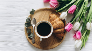 Coffee Croissant Cup Drink Still Life Tulip 2800x1867 Wallpaper