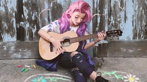 Anime Girls Artwork Digital Art Digital Painting Women Young Woman On The Ground Guitar On The Floor 3000x4000 Wallpaper