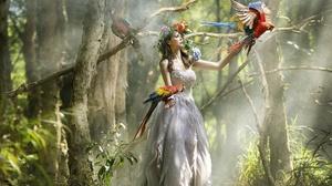 Asian Women Model Animals Birds Parrot Fantasy Girl Trees Women Outdoors 2400x1360 Wallpaper