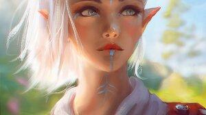 Women Artwork Fantasy Art Elves Elf Ears White Hair Nixri 1448x2048 wallpaper