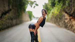 Women Model Brunette Looking At Viewer Parted Lips Black Tops Leather Clothing Depth Of Field Road O 3840x2161 Wallpaper