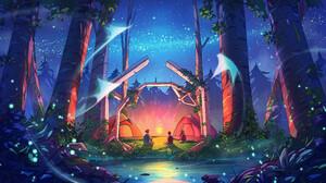 Christian Benavides Digital Art Fantasy Art Manta Rays Forest Camping Tent Stars Night Arch 3840x2160 Wallpaper