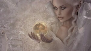 Crystal Ball Fantasy Girl Peacock Tears White White Hair Witch Woman 2048x1369 Wallpaper