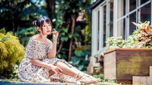 Asian Model Women Long Hair Dark Hair Depth Of Field Sitting Barefoot Sandal Flower Dress Trees Bush 2281x1520 Wallpaper