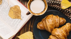Coffee Croissant Cup Drink Still Life Viennoiserie 6743x4500 Wallpaper