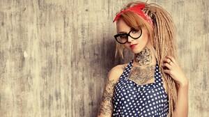 Tattoo Women Dreadlocks Women With Glasses 2048x1124 Wallpaper