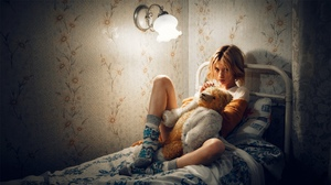Women Model Looking At Viewer Parted Lips Teddy Bears Sitting Socks In Bed Bedroom Lamp Indoors Wome 2560x1440 Wallpaper