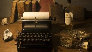 Alcohol Book Typewriter 6016x4119 Wallpaper