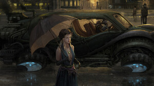Artwork Fantasy Art People Women Steampunk Futuristic Floating Car Vehicle Robot Elbow Gloves Dress  1920x1404 Wallpaper