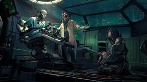 Science Fiction Cyberpunk Futuristic Wires Cyborg Digital Art Crying 3840x2156 Wallpaper