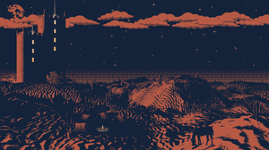 Digital Pixel Art Stars Clouds Desert Tower Cactus 1920x1080 wallpaper