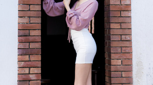 Asian Model Women Long Hair Dark Hair Blouse White Skirt White Heels Doorways Bricks Earrings Stairs 2560x3840 Wallpaper