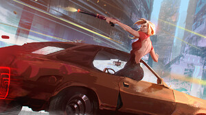 Artwork Women Car Women With Cars Gun Weapon Vehicle Blonde 2000x997 Wallpaper