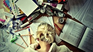 Blonde Women Can Books Pencils Tired Model 1920x1200 Wallpaper