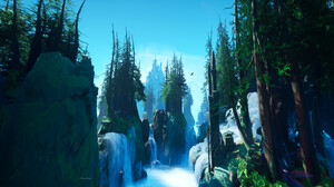 Tyler Smith Digital Art Fantasy Art Castle Trees Forest Waterfall 3840x2160 Wallpaper