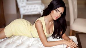 Women Ukrainian Ukrainian Model Model Dark Hair Long Hair Yellow Dress Hands Crossed Looking At View 1920x1080 Wallpaper