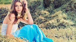 Model Women Red Lipstick Hands In Hair Women Outdoors White Tops Blue Skirt Sitting Sunlight 4000x2666 Wallpaper