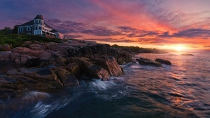 Coast House Mansion Ocean Rock Sea 1920x1080 Wallpaper