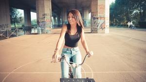 Women Bicycle Jeans Bare Midriff Brunette Long Hair Graffiti Smiling 4K Women Outdoors Urban Vehicle 3840x2160 Wallpaper